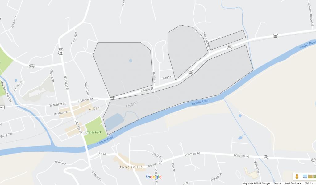 Conceptual Area Map of Elkin Urban Core District