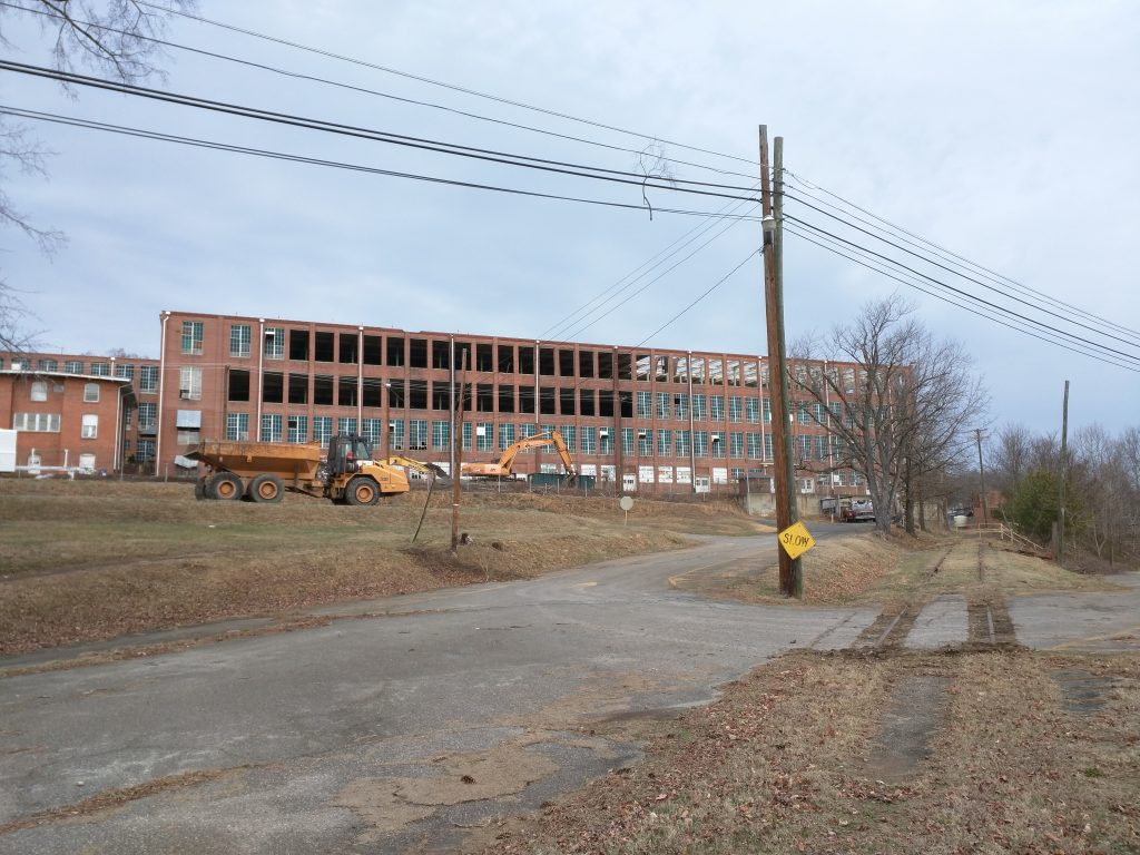 Demolition of Chatham Manufacturing textile factory in Elkin, North Carolina
