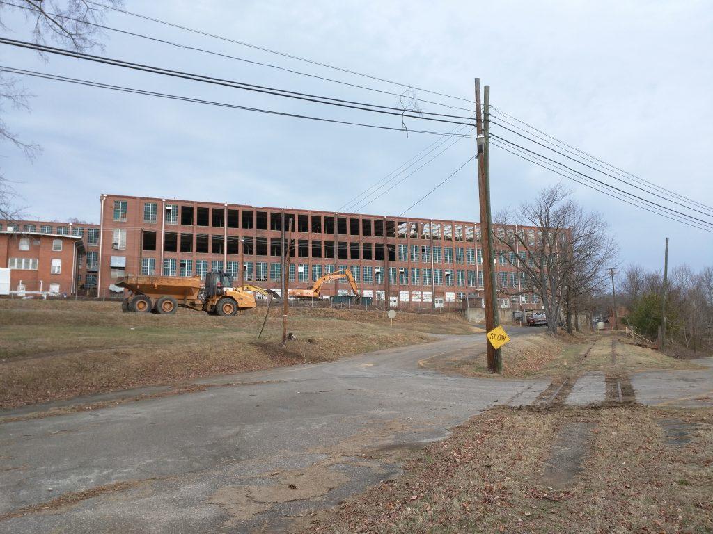Demolition of Chatham Manufacturing textile factory in Elkin, North Carolina