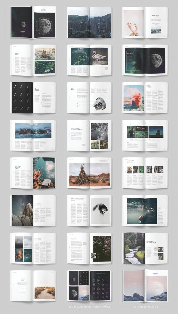 "Visual examples from the ""Lumina"" magazine template"