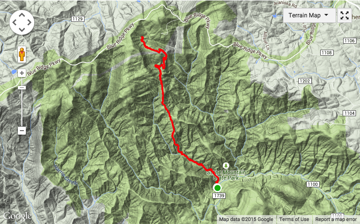Terrain map of July 5 hike up MST