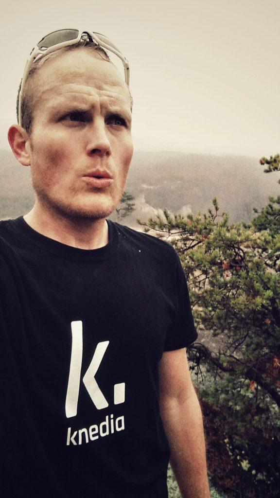 Photo of Ben Erlandson atop Stone Mountain