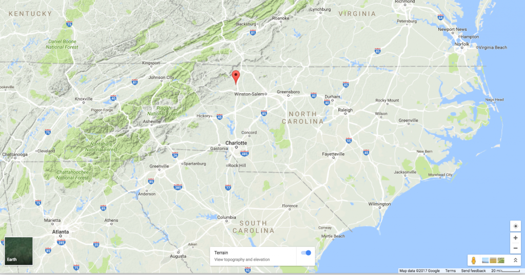 Map of North Carolina highlighting the Town of Elkin